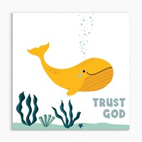 Trust God (Whale) White Framed Print 6x6 (General Merchandise)