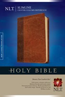 NLT Slimline Center Column Reference Bible, Brown/Tan (Imitation Leather)