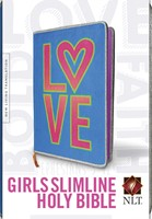 NLT Girls Slimline Bible Neon Love (Hard Cover)