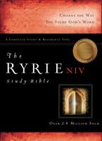 The NIV Ryrie Study Bible Genuine Leather Black Red Letter (Leather Binding)