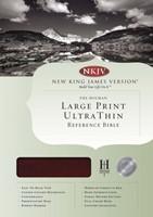 NKJV Large Print Ultrathin Reference Bible, Mahogany Leather