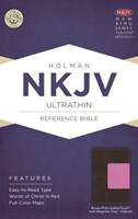 NKJV Ultrathin Reference Bible, Brown/Pink Leathertouch With