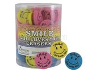 Round Smile Erasers Pk96