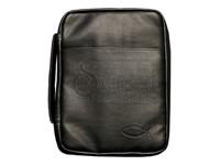 Bible Cover Black Fish Imitation Leather Large