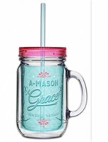 Acrylic Mason Jar w/ Straw - Grace Mason