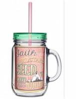 Acrylic Mason Jar w/ Straw - Mustard Seed