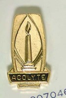 Gold Acolyte Pin with Lighted Candle (Miscellaneous Print)
