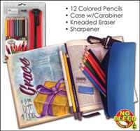 Coloured Pencil Set (12 pencils w/ Sharpener, Eraser & Case)