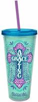Acrylic Tumbler w/ Straw - Amazing Grace