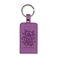 Leather Keychain Love Hopes All Things (Keyring)