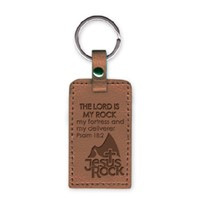 Leather Keychain Jesus Rock