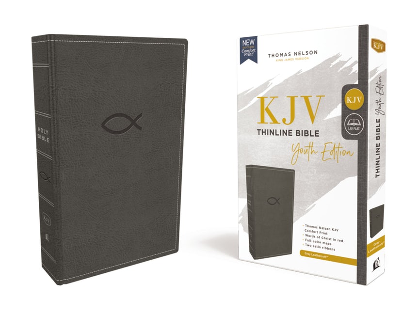 KJV Thinline Bible, Youth Edition, Gray, Red Letter