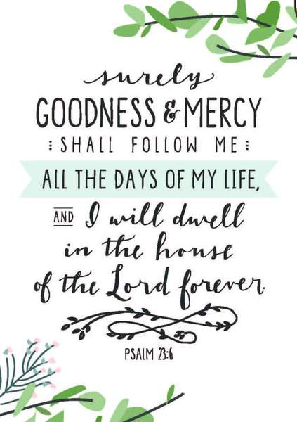 Surely Goodness and Mercy A4 Print
