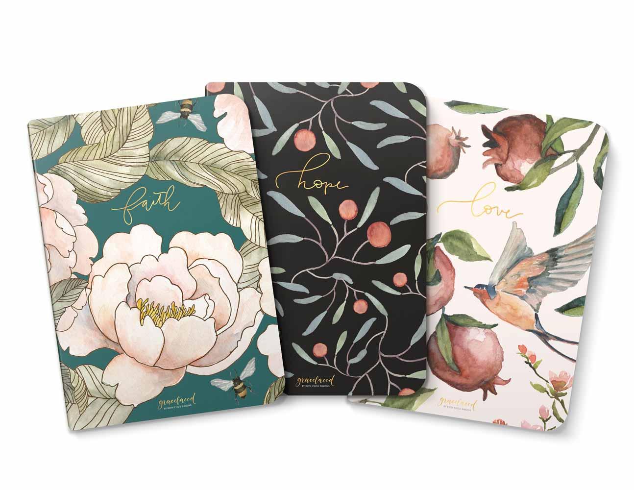 GraceLaced Lined Notebooks - Faith, Hope, Love (set of 3)