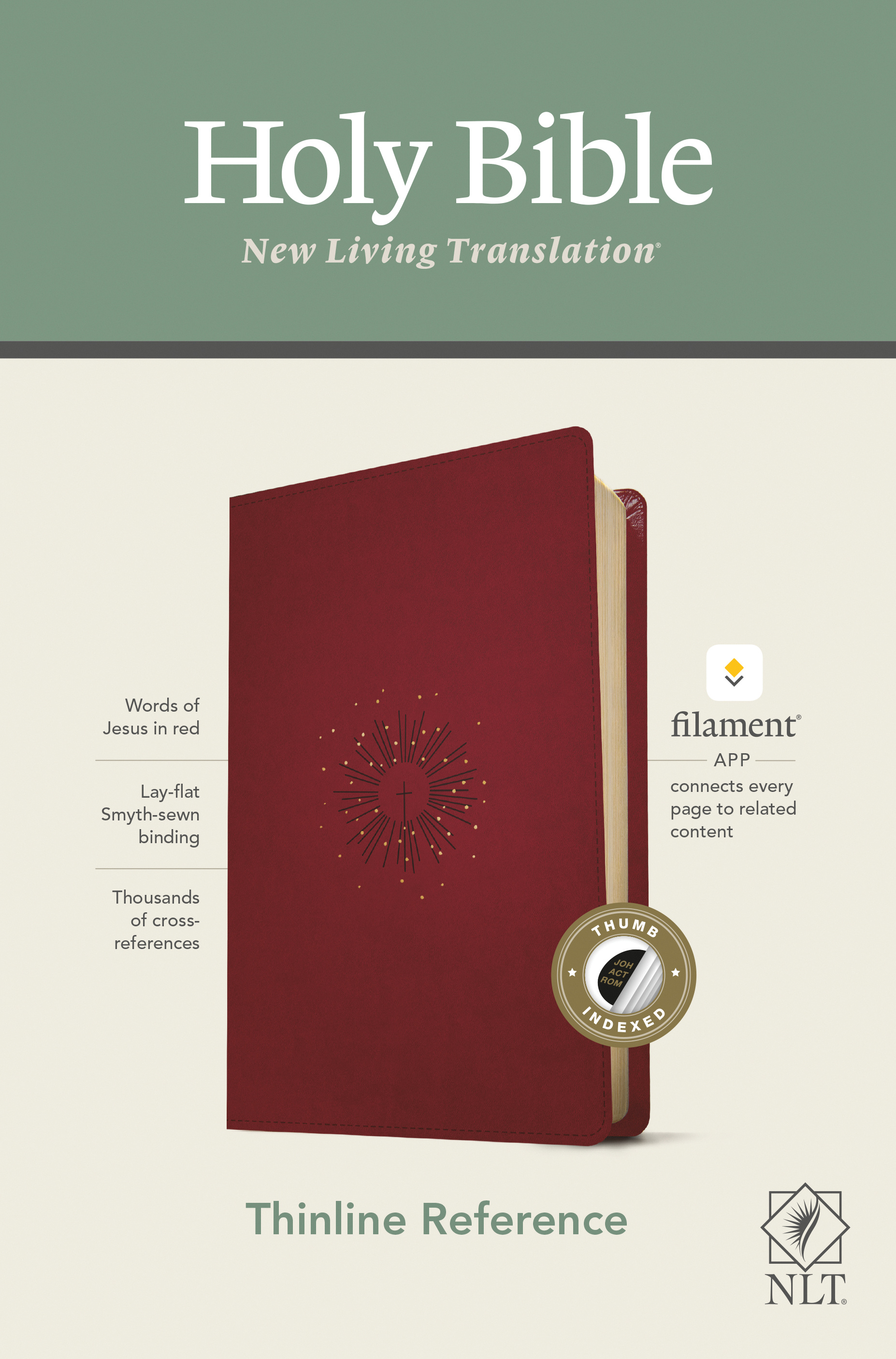 NLT Thinline Reference Bible, Filament Enabled Edition (Red