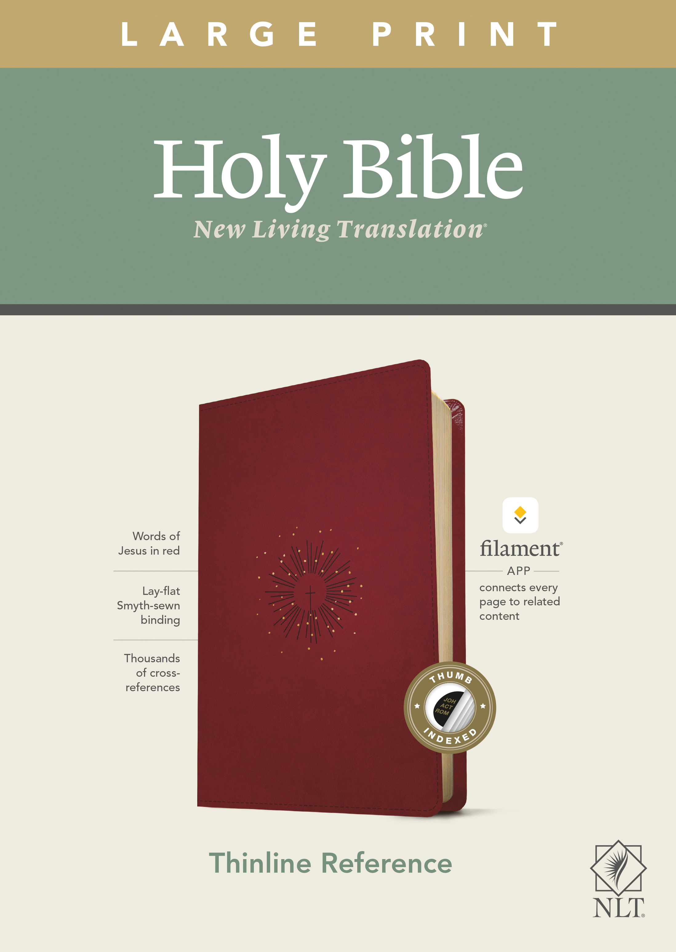 NLT Large Print Thinline Reference Bible, Filament Enabled E