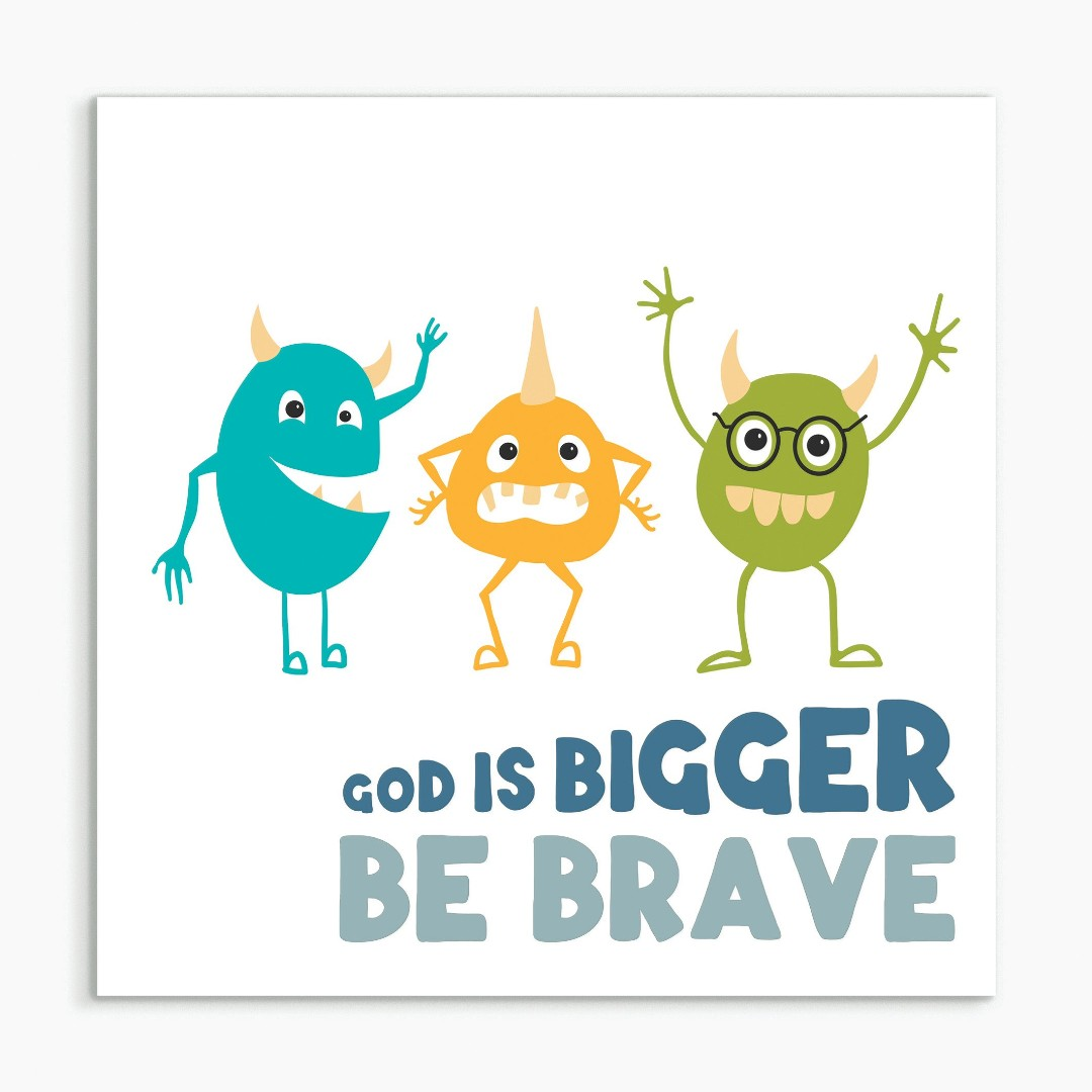 God is Bigger (Monster) White Framed Print 8x8
