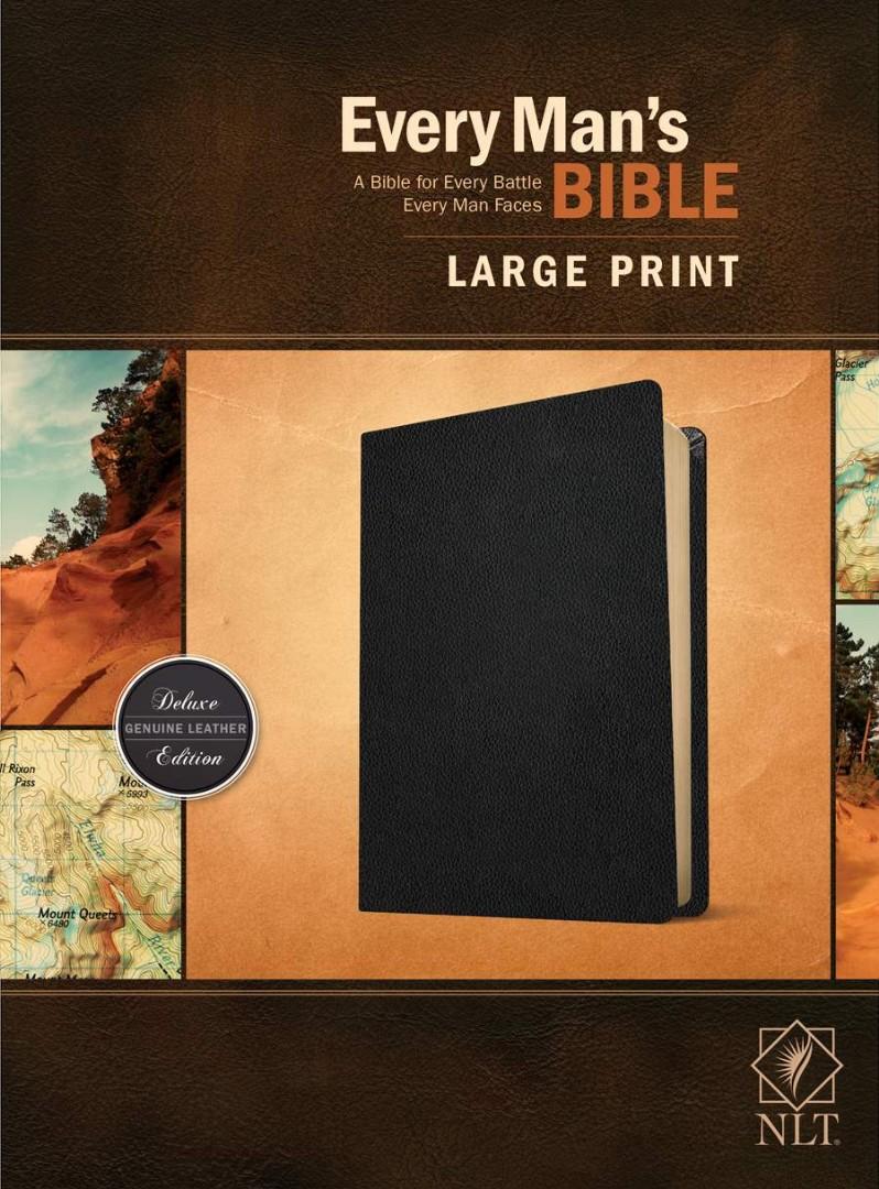 NLT Every Man's Bible, Large Print, Black Genuine Leather