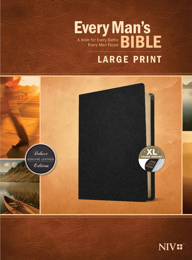 Every Man's Bible NIV, Large Print (Genuine Leather, Black,