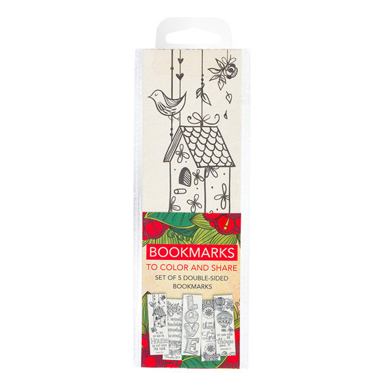 Colouring Bookmarks: Red (pack of 5)