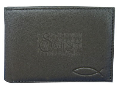 Wallet Black Leather Fish