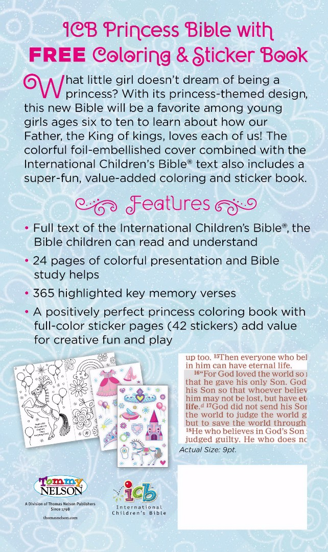 ICB: Princess Bible, HB, With Coloring Sticker Book