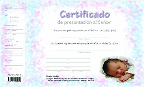 Certificado de Presentacion de Ninos