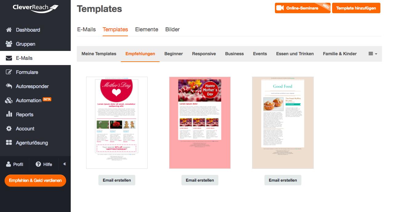 Wählen Sie Ihr passenden Newsletter-Template aus