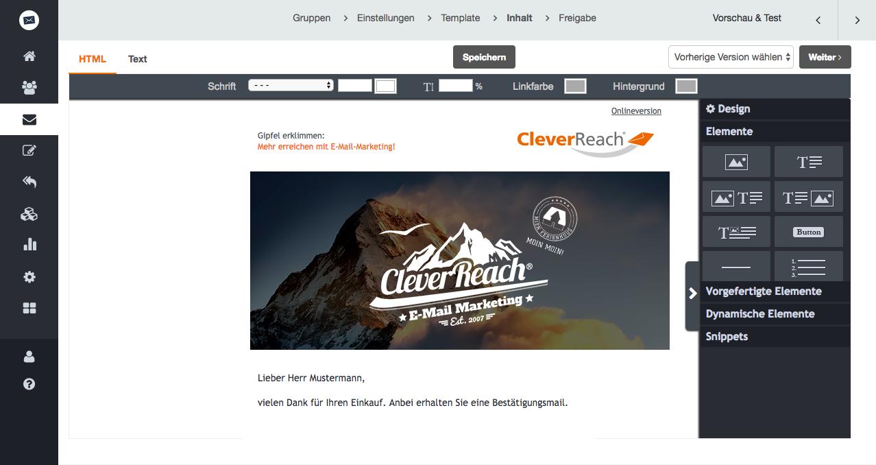 screenshot: Der Drag&Drop-Editor von CleverReach® - einfach und intuitiv Mailings erstellen