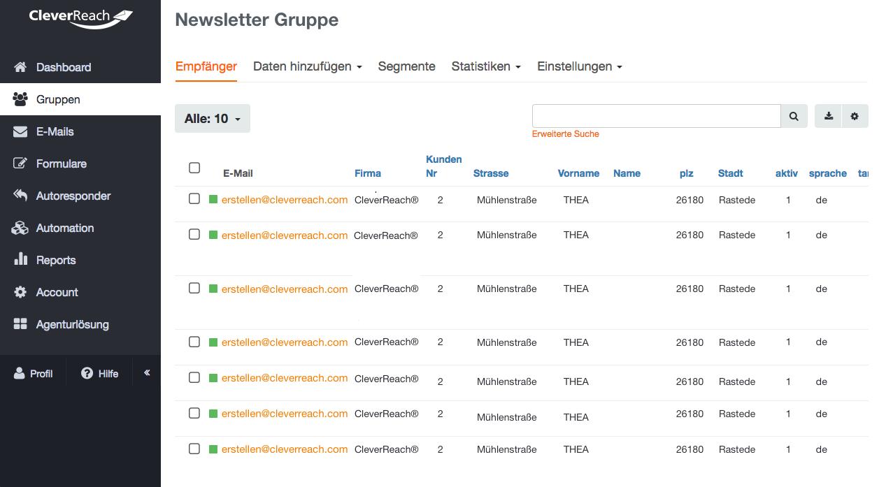 Mit CleverReach® Empfänger verwalten – Importfunktion aus CSV- oder XLS-Dateien, Segmentierung Ihrer Kudnengruppen, Blacklisting - CleverReach® bietet Ihnen viele Lösungen für Ihre Newsletter-Kampagnen.