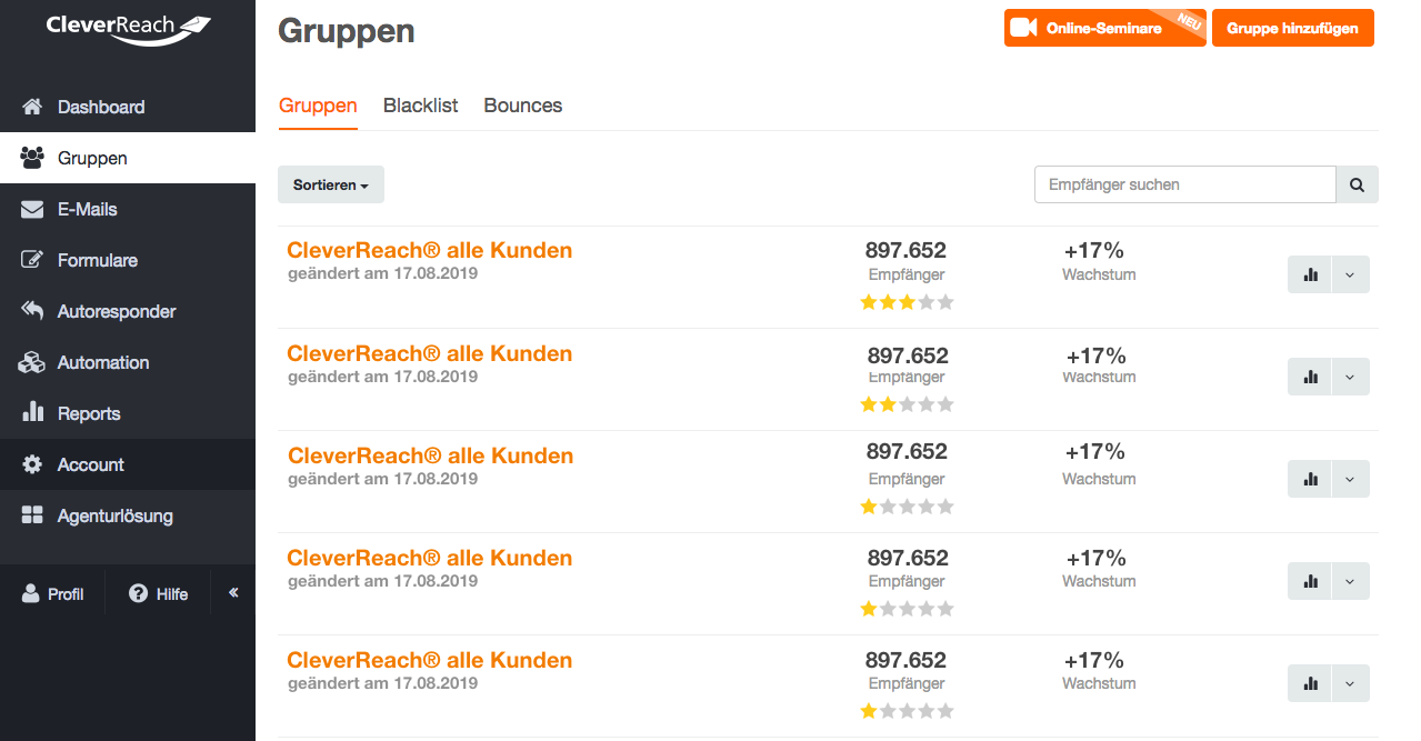 screenshot: CleverReach Empfängerlisten schnell und einfach erstellen und verwalten