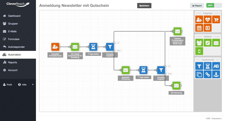 screenshot: THEA: vollautomatisierte Mailing-Kampagnen. Erstellen Sie mit einem visuellen Baukasten Ihre E-Mail-Kampagnen. Kinderleicht.