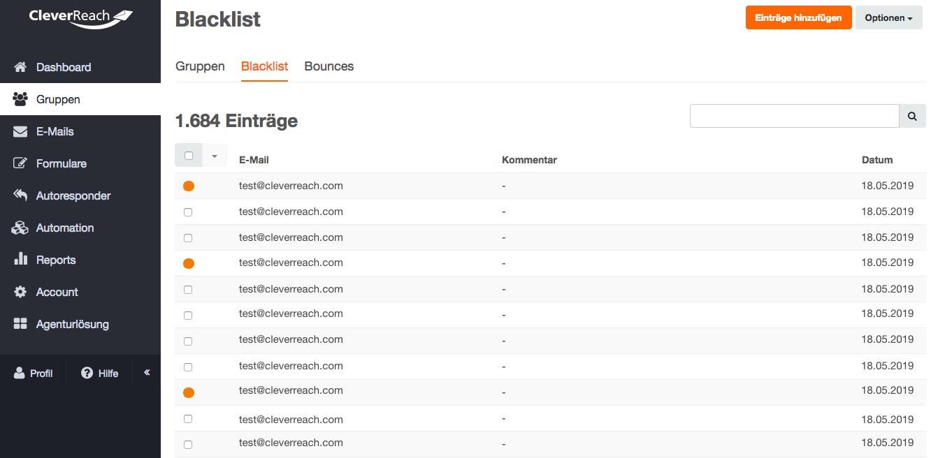 screenshot: Wen kann ich ausschließen? Über die Blacklist können Sie einzelne Empfänger oder komplette Domains dauerhaft vom Versand ausschließen.