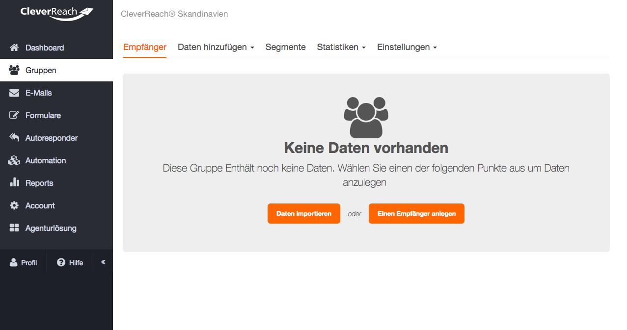 """Screenshot: • Wählen Sie innerhalb der Gruppe über """"Daten hinzufügen"""" """"Import"""" aus."""