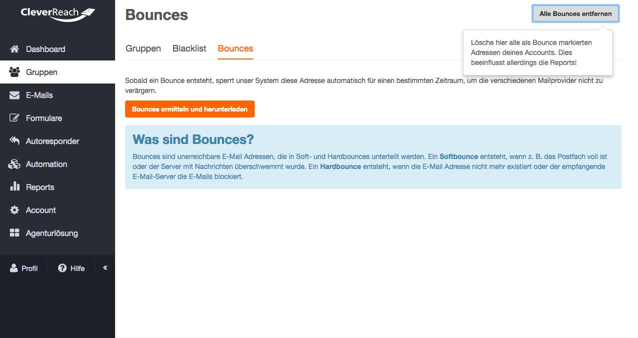 Screenshot: Wie erfahre ich von Bounces?