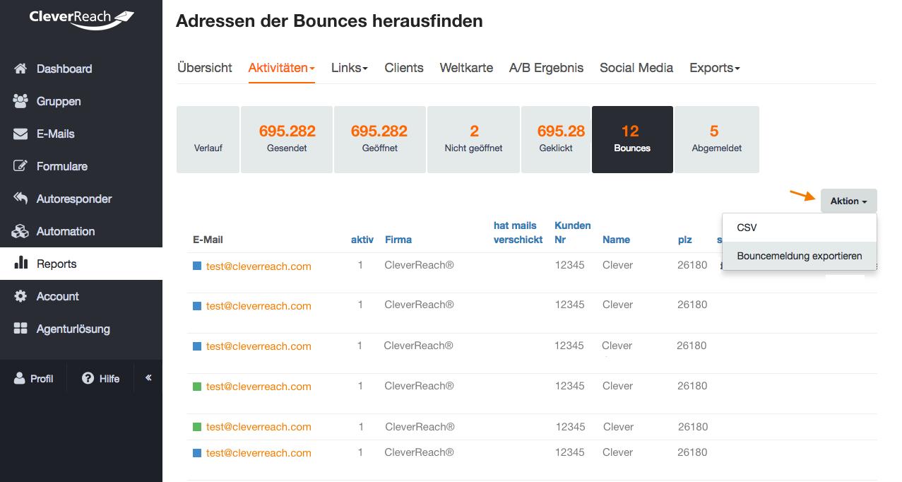 Screenshot: Wie kann ich die Adressen der Bounces herausfinden?