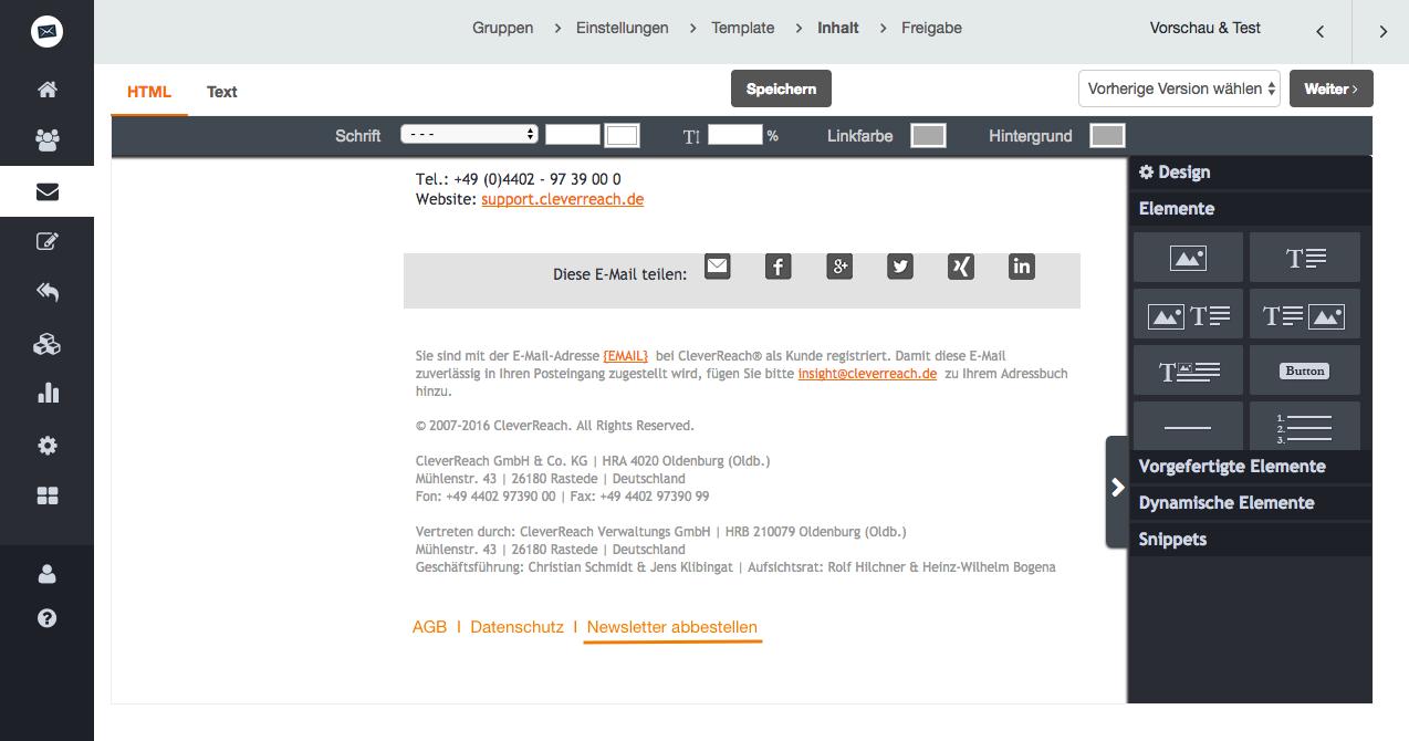 screenshot: Warum Sie die Abmeldung für Ihre Empfänger leicht machen sollten - und wie CleverReach® Sie dabei unterstützt