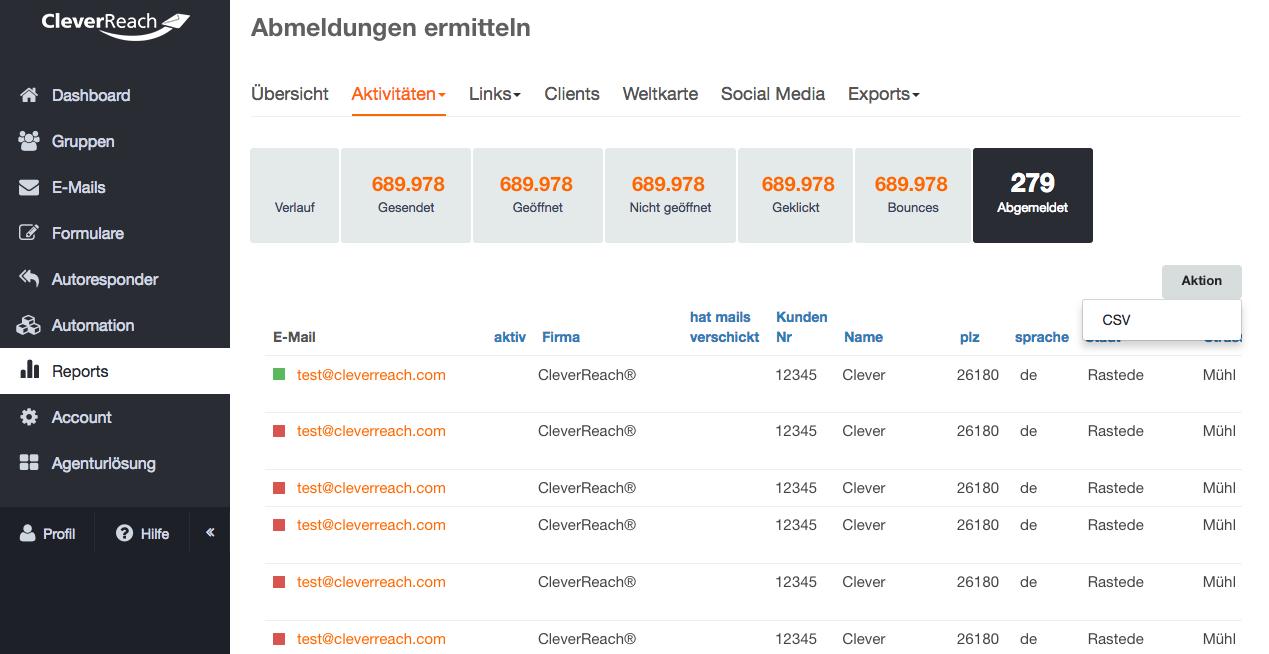 screenshot: • über Reports: Sie sehen die Abmelderate in der Übersicht zum betreffenden Mailing.