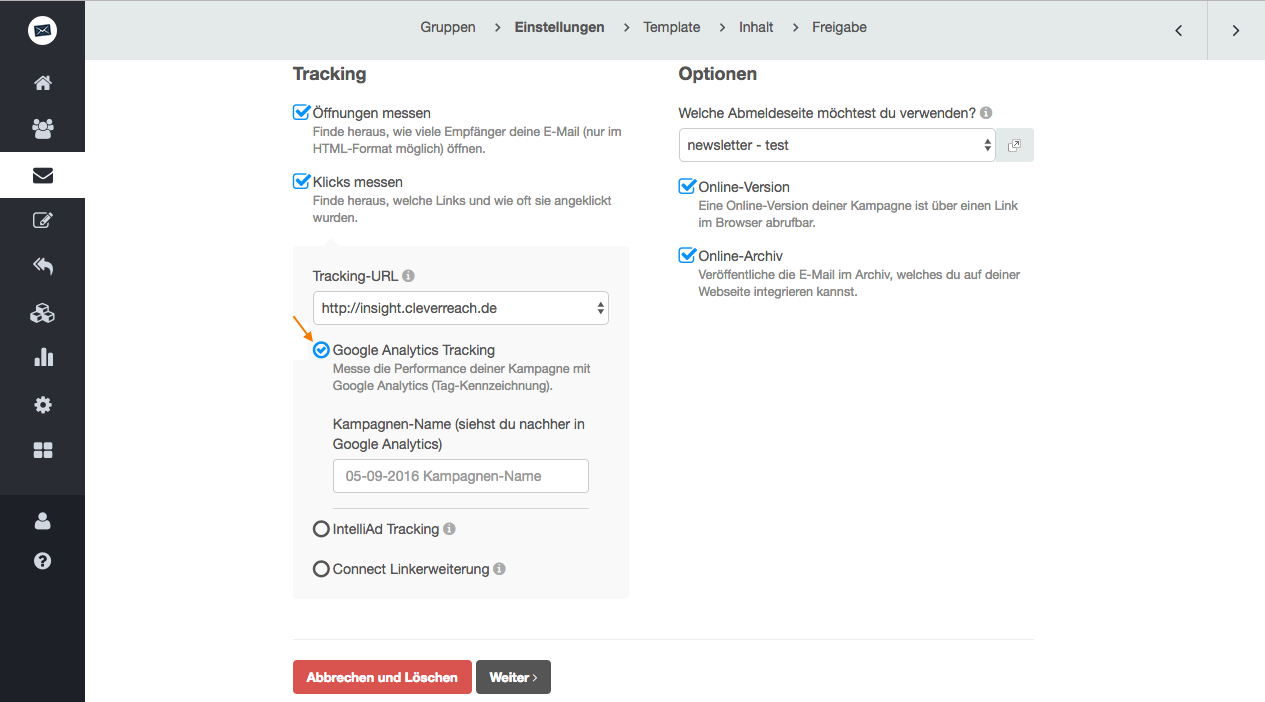screenshot: So integrieren Sie Google Analytics in Ihr Newsletter-Tracking