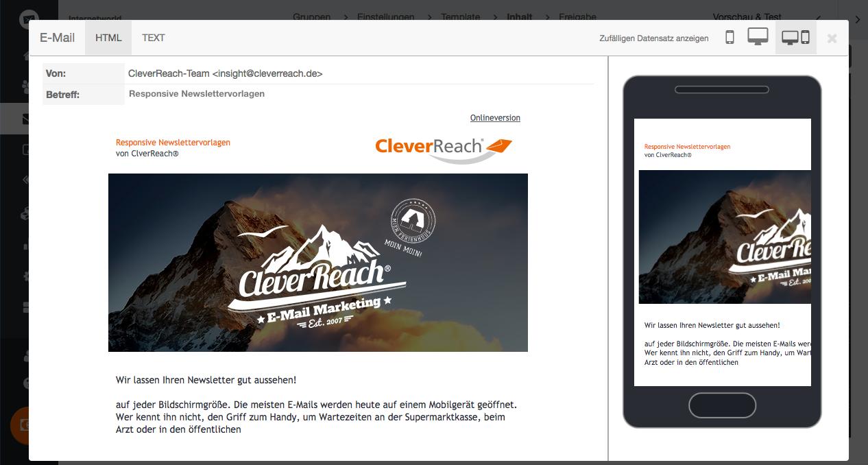 screenshot: Wir lassen Ihren Newsletter gut aussehen – auf jeder Bildschirmgröße