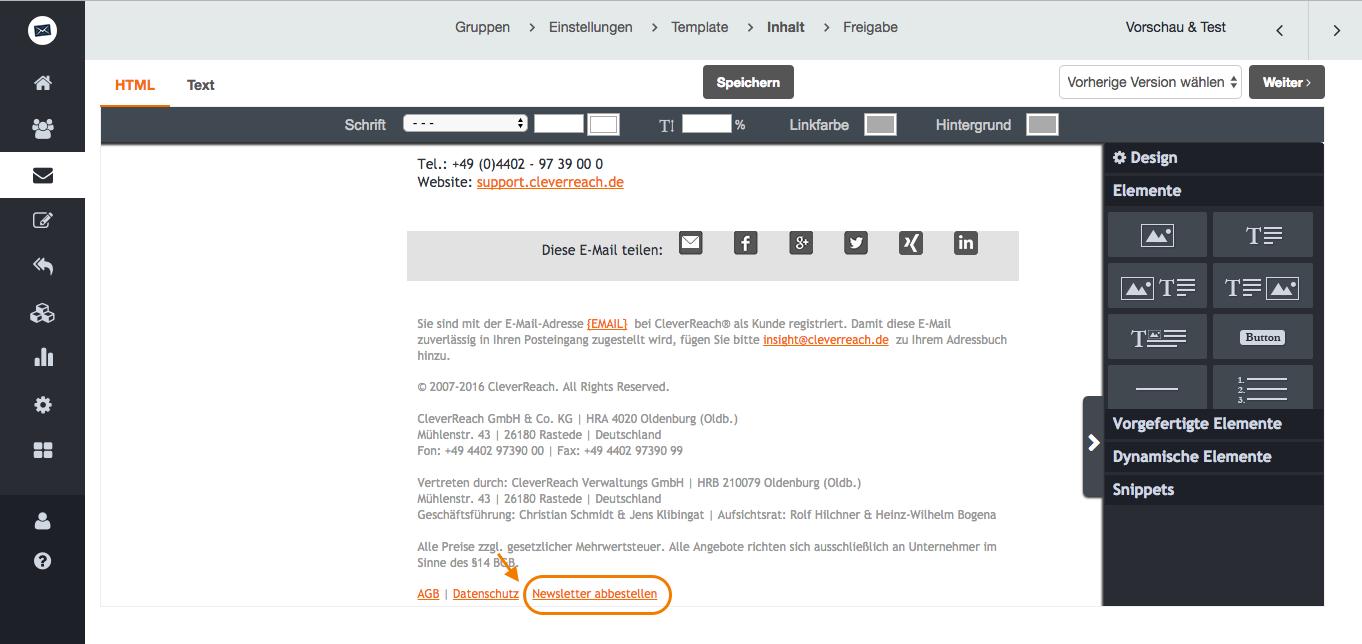 screenshot: Automatisches Abmeldemanagement: Für Ihren rechtssicheren Newsletterversand