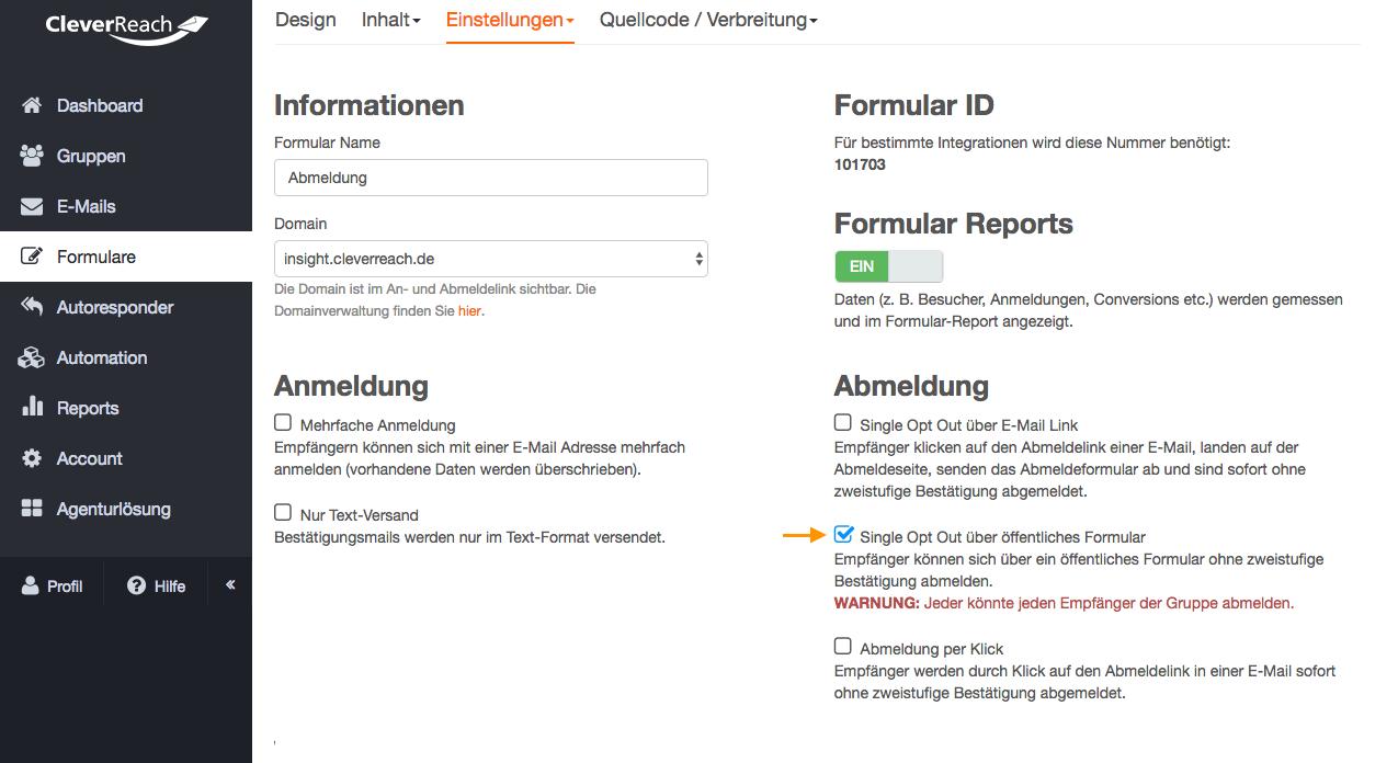 screenshot: Single-Opt-Out über ein öffentliches Formular