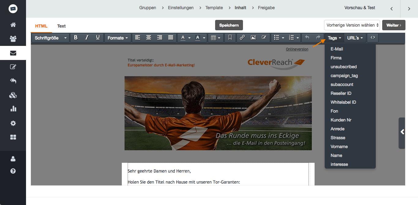 screenshot: So nutzen Sie Platzhalter für Ihren personalisierten Newsletter