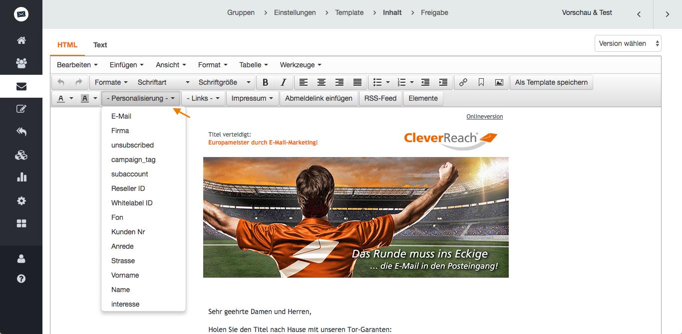 """screenshot: Auch im HTML-Editor können Sie Platzhalter einfügen; diese finden Sie unter """"Platzhalter""""screenshot: Auch im HTML-Editor können Sie Platzhalter einfügen; diese finden Sie unter """"Platzhalter"""""""