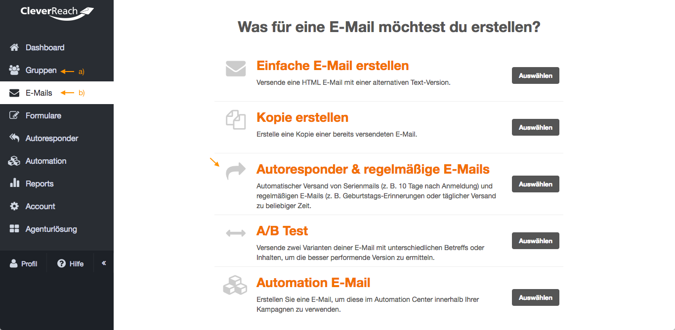 screenshot: So legen Sie einen Autoresponder in CleverReach® an