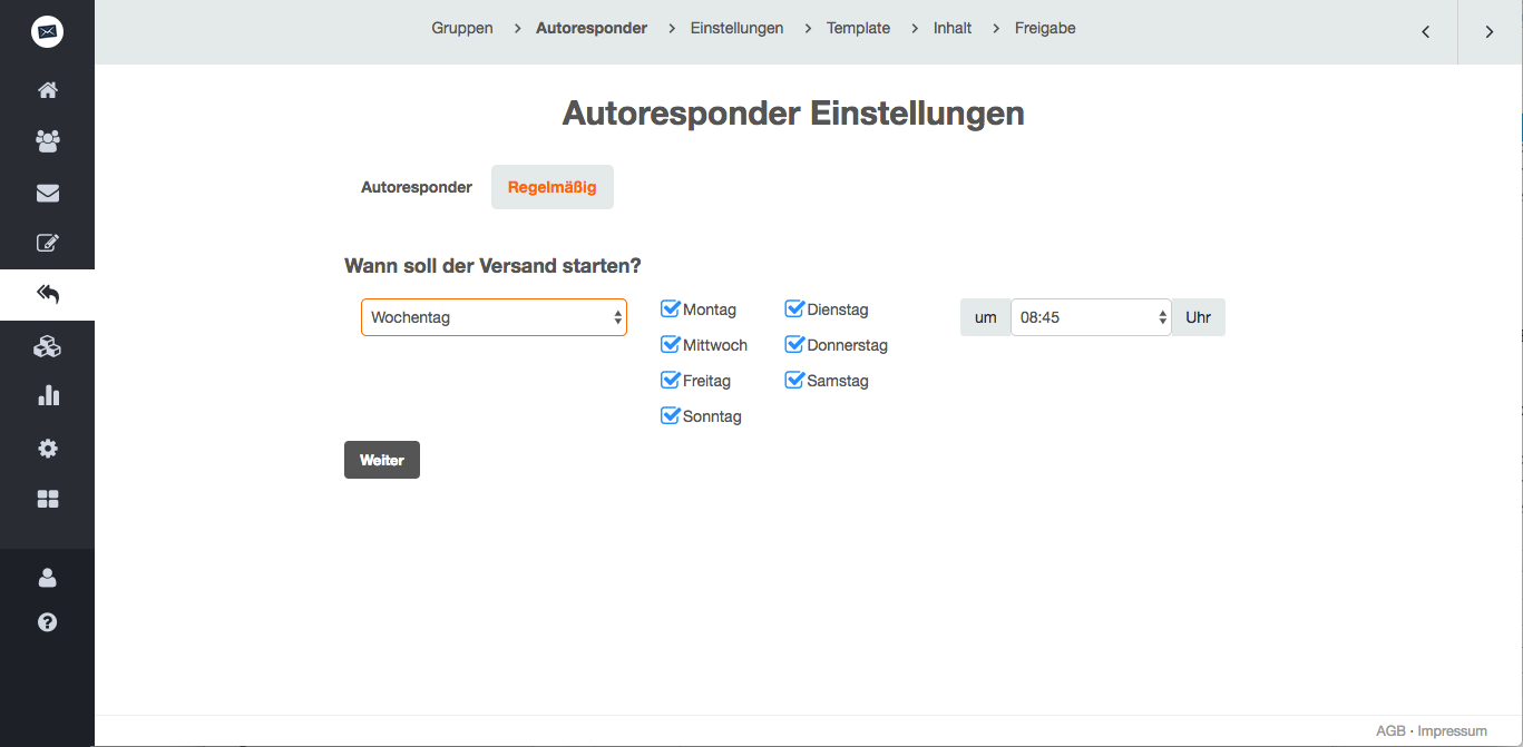 screenshot: 1. Wählen Sie aus, wann die erste automatisierte Mail versendet werden soll.