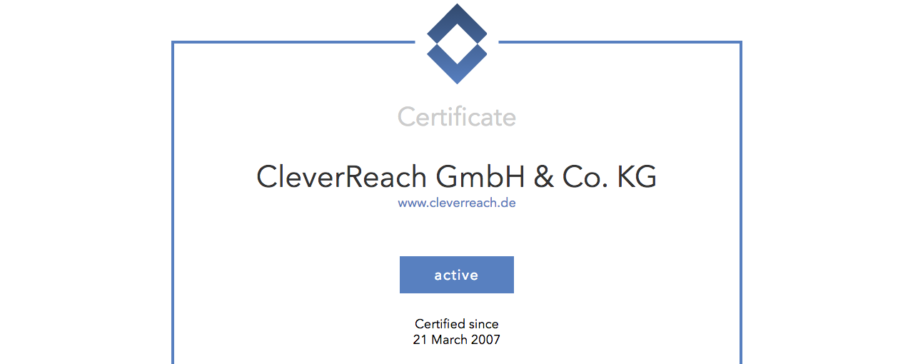screenshot: CleverReach® ist Mitglied der Certified Senders Alliance (CSA)