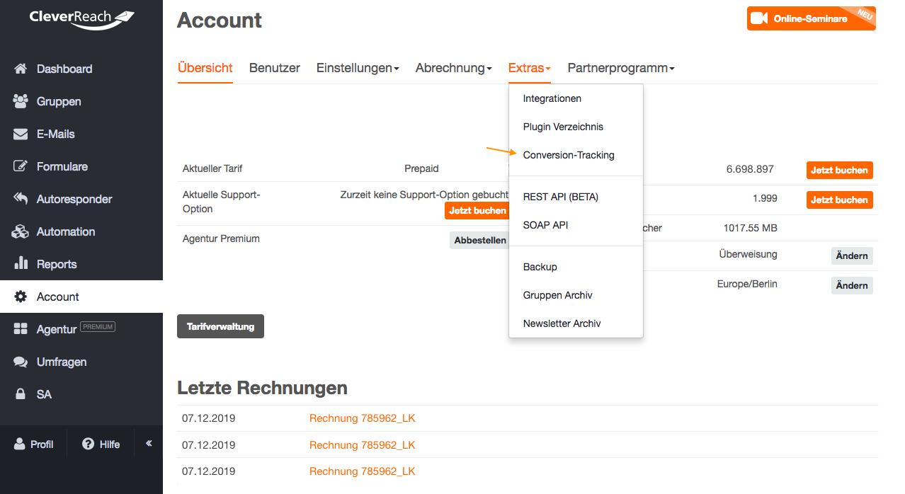screenshot: Was wird mit dem Conversion Tracking gemessen?