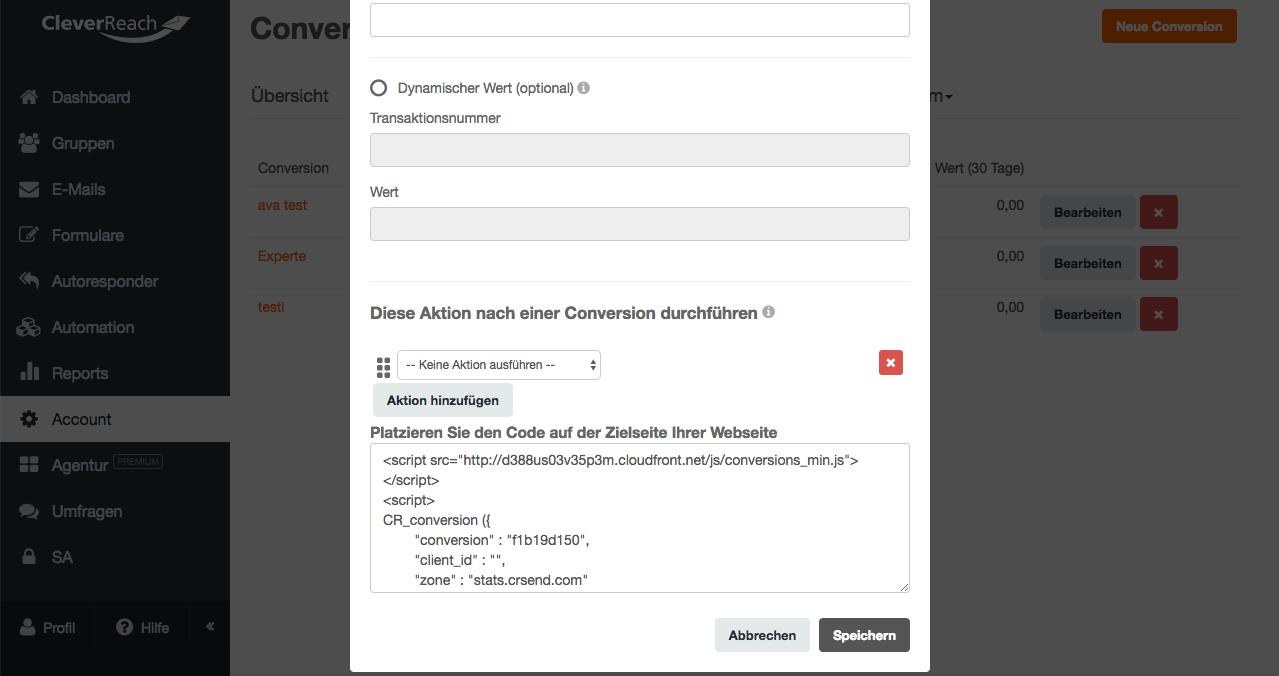 screenshots: So richten Sie das Conversion Tracking in CleverReach® ein