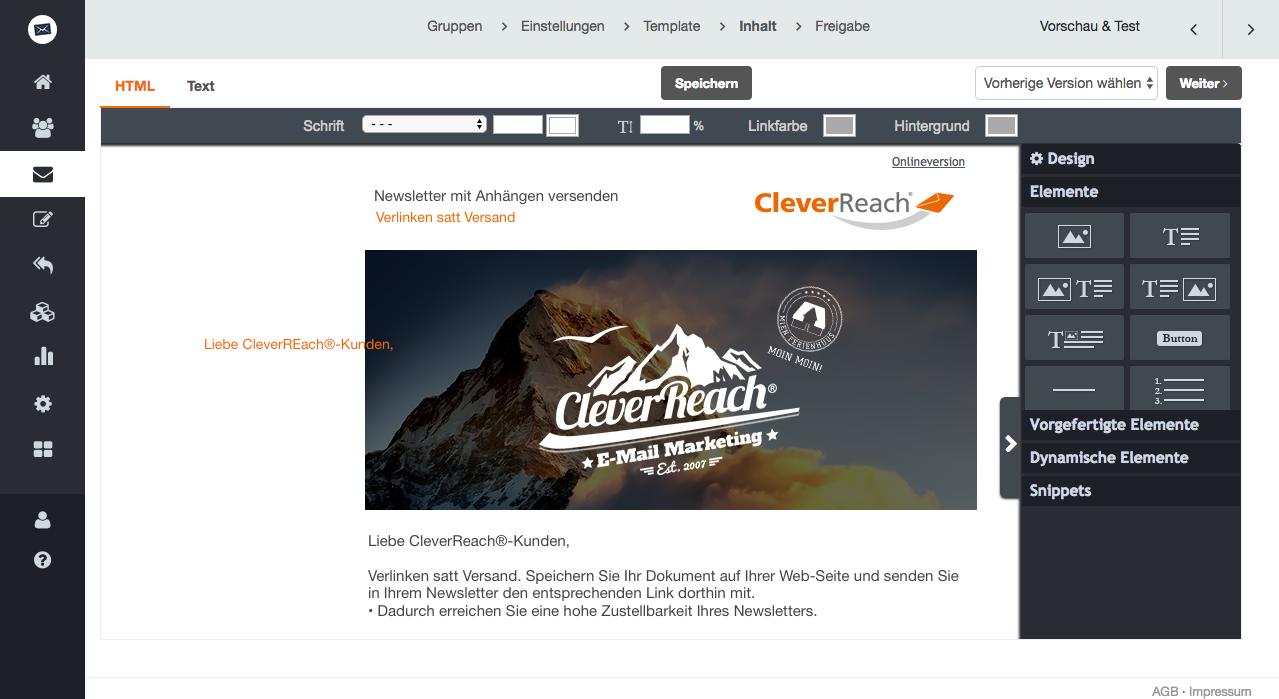 screenshot: screenshot: Warum Newsletter mit Anhang nicht verschickt werden – und was Sie stattdessen tun können